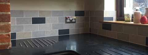 Kitchen walls recently tiled with Gemini Totem Rustic 150 x 75mm Porcelain tiles from CTD.